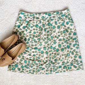 LOFT Green & White Patterned A-Line Skirt